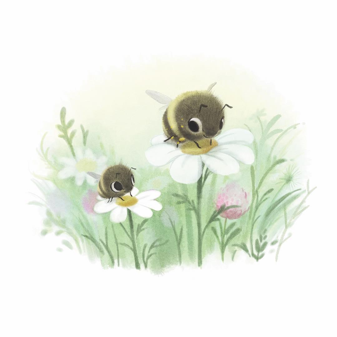 Dessin abeilles sur fleurs